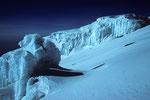 Eisformationen im Gipfelbereich