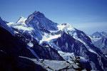 Jungfrau 4158 m mit Silberhorn 3695 m vom Frühstücksplatz 3066 m