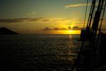 Sunset auf der Thetis in der Baie Chevalier