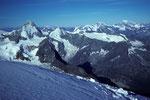 Blick vom Bishorn mit Dent Blanche 4356m, Grand Combin 4314m, Montblanc 4810m