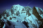 Rochefortgrat mit Dent du Geant 4013m und Montblanc 4807m