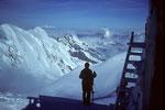 4554m-Aussicht auf Liskamm 4527m und Matterhorn 4478 m, in der Ferne Montblanc