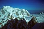 Montblanc 4807m, Mont Maudit 4465m und Montblanc du Tacul 4248m