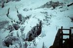 Blick von der Hütte in die Gletscherbrüche