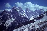 Pointe Puiseux 3946 m, Pt.Durand 3932 m und  Pic sans Nom 3913 m