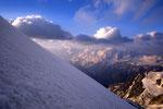 Monte Rosa Viertausender im Morgenlicht.