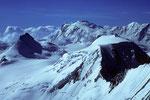 Rimpfischhorn 4199 m, Monte Rosa 4634 m und  Alphubel 4206 m -Tele-