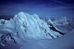 Blick auf Liskamm 4527m, Breithorn 4165 m und Matterhorn 4478 m