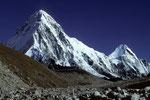 Pumori 7161 m, Kala Patthar 5545 m und Lingtren 6714 m