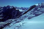 Blick nach Nordosten  mit  Aig. du Midi  3842 m