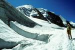 Die drei Gipfel des Piz Palü aus dem Gletscherlabyrinth