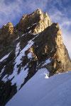 Zinalrothorn 4221 m am Firngratende mit Zugang zur Gabel.
