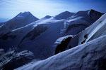 Piz Palü  3905 m und Bellavista Terrasse im Morgenlicht