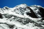 Piz Palü Ostgipfel 3882 m und Mittelgipfel 3905 m aus dem Gletscherlabyrinth