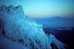 Eisformationen und Montblanc-Schatten