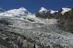 Gletschermeer mit Castor und Pollux vom Weg zur Monte Rosa-Hütte