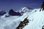 Rimpfischhorn 4199 m und Monte Rosa 4634 m  -Tele-