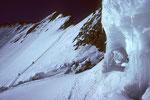 Barre des Écrins 4102 m mit  Aufstiegsspur in der Nordflanke