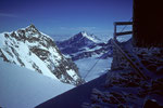 4554m-Aussicht von der Hütte auf Nordend 4609 m und  Mischabelgruppe