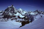 Matterhorn 4478m, Dent Blanche 4356m und Obergabelhorn 4063m