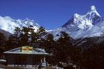 Blick von  Tengboche auf Mount Everest, Lhotse und Ama Dablam