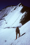 Barre des Écrins 4102 m mit  Aufstiegsspur in der Nordflanke mit  Seilschaften
