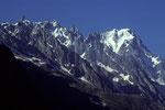 Blick vom Val Ferret auf Dent du Geant, Rochefortgrat und Grandes Jorasses