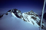 4554m-Aussicht auf Zumsteinspitze 4563m, Dufourspitze 4634 m und Nordend 4609 m