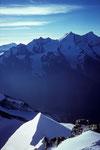 Blick vom Gipfel Pointe Burnaby 4135 m zur  Mischabelgruppe