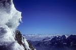 Am SO-Grat rechts Fletschhorn 3985 m und Lagginhorn 4010 m