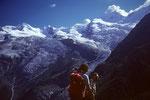 Allalinhorn 4027 m und Alphubel 4206 m davor Michael und Walti in memoriam