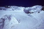 Aufstiegsspur durch die Seraczone in der Nordflanke der Barre des Écrins 4102 m