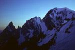 Peutereygrat und Montblanc 4807m nach Sonnenuntergang von der Turiner Hütte 3371m