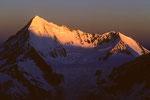 Weisshorn 4505 m mit Bishorn 4153 m im Morgenlicht - Tele -