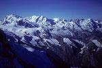Monte Rosa 4635 m, Liskamm 4527 m, Castor und Pollux und Breithorn