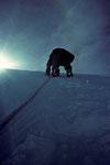 Schwarzhorn (Corno Nera) 4322m - in der Steilwand zum Gipfel -