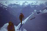 Michael und Walti auf dem Gipfelgrat zur Lenzspitze in memoriam