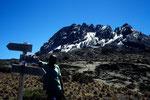 Am Wegweiser zur Kibo Hütte