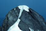 Wetterhorn 3701 m vom Mittelhorn 3704 m mit Seilschaften auf dem Gipfel - Tele -