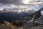 Blick von der Rothornhütte SAC zu den 4000ern der Monte Rosa.