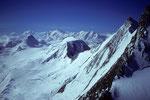 Strahlhorn, Rimpfischhorn, Monte Rosa, Alphubel, Liskamm und Täschhorn