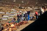 Fleischmarkt in Namche Bazar auf 3440 m