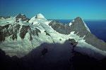 Jungfrau 4158 m, Mönch 4107 m und Eiger 3970 m
