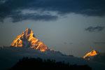 """Machapuchare 6997 m - """"Alpenglühen"""" von Pokhara"""