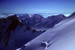 Lenzspitze 4294 m, Fletschhorn 3985 m, Lagginhorn 4010 m und Weissmies 4017 m
