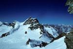 Rottalhorn 3969 m, Jungfrau 4158 m und Wengen-Jungfrau 4090 m