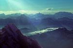 Grandes Jorasses 4208m  mit  Walliser Berge in der Ferne  I  - Tele -