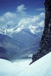 Vom Couloir Blick zum Weisshorn 4505 m
