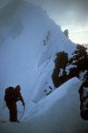 Am Grat im Morgennebel - Aufstieg zum Aig. de Rochefort 4001 m