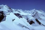 Blick zurück zum Liskamm, Schneedom, Roccia Nera, Pollux und Castor
